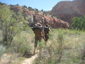 Hiking with Classic Trail Camping self-made packs - one using dimensional lumber and canvas and the other using willows and rawhide.