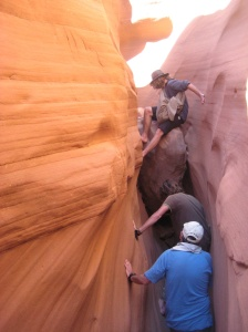 Taking a side trip to explore a slot canyon.
