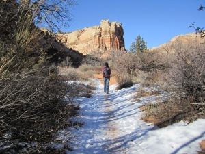 Warm clear days in january provide pristine hiking in the canyons.
