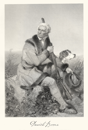 Engraving of Daniel Boone by Alonzo Chappel, 1861