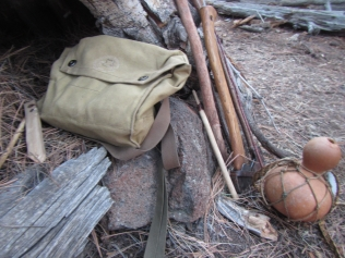 The accoutrements of a backwoods traveler.